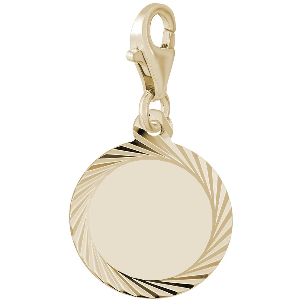 10k Yellow Gold Disc Charm With Lobster Claw Clasp, Charms for Bracelets and Necklaces
