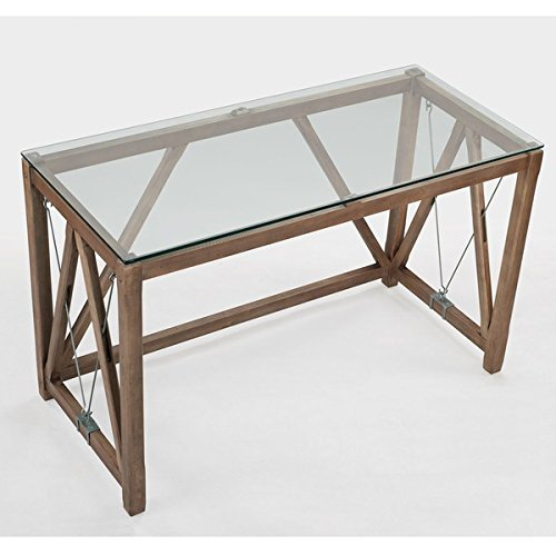 Desk / Computer Desk , Rustic Style, Weathered Grey Oak Glass Top Cable Desk 8573D, Assembly Required (30'' H x 48'' W x 22'' D)