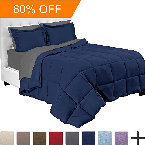 5-Piece Bed-In-A-Bag - Twin (Comforter Set: Dark Blue, Sheet Set: Grey) (Sheets Comforter)