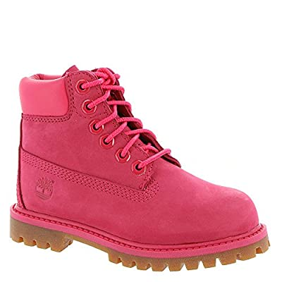 "Timberland Kids Baby Girl's 6"" Premium Waterproof Boot (Toddler/Little Kid) Red Rose Waterbuck 10.5 M US Little Kid"