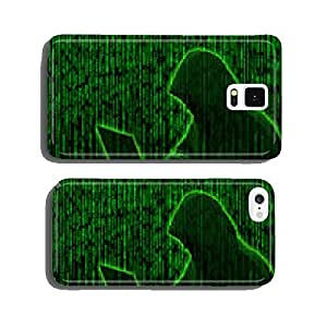 Conceptual image of a hacker on green matrix background cell phone cover case iPhone5