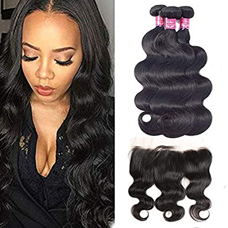 """Ulove Hair Brazilian Virgin Hair Body Wave 3 Bundles With Frontal Natural Color 100 Percents Unprocessed Human Hair Extensions With 13x4 Frontal Lace Closure (10 12 14+10""""Frontal) by Ulove Hair"""