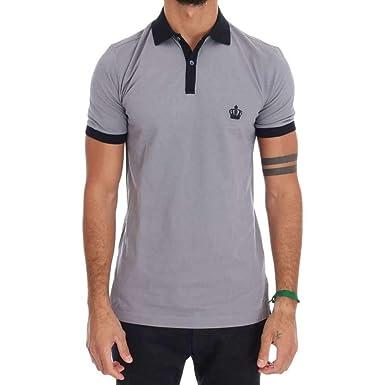 e1ca14748 Dolce & Gabbana Men's Gray Crown 'Corona' Short Sleeve Contrast Polo Shirt,  Gray