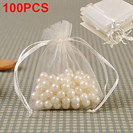 100pcs Organza Bags White 10 x 15cm Medium Organza Wedding Favour Drawstring Bags Jewellery Bags Candy Mesh Pouches for Small Gift