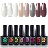 Coscelia 8pcs Soak Off Gel Nail Polish Sets UV LED Gel Nail Polish
