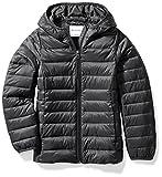 Amazon Essentials Girls' Lightweight Water-Resistant Packable Hooded Puffer Jacket, Black Caviar, Small