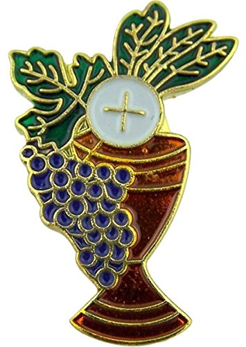 Pin Lapel Chalice - Gold Tone Enamel Heavenly Feast First Communion Chalice Lapel Pin with Bookmark, 1 Inch
