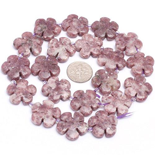 (JOE FOREMAN 20mm Pink Tourmaline Lepidolite Semi Precious Stone Flower Loose Beads for Jewelry Making DIY Handmade Craft Supplies 15