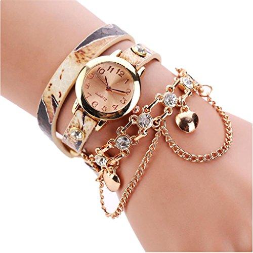 Women Watch,FUNIC Leather Rhinestone Rivet Chain Quartz Bracelet Wrist Watch (Beige)