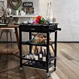 Faux Marble 3 Tier Kitchen Buffet Serving Cart Bar Wine Bottle Holder Trolley