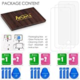 AFUNTA Screen Protectors Compatible iPod Touch 6th 5th Generation, Set of 3 Full Coverage Tempered Glass Protective Films, HD Clear Anti-Scratches Bubble Free Compatible Apple iPod Touch 5 6