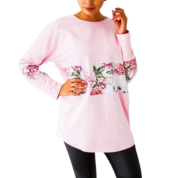 Frauen Mode Lässig Oansatz Patchwork Lose Pullover T shirt Top Neu