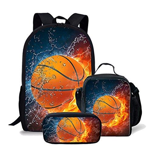 Kids Flame Basketball Backpack Schoolbag Bookbag Lunch Bag Pencil Pouch 3 Piece Set ()