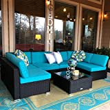 pool deck furniture Peach Tree 7 PCs Outdoor Patio PE Rattan Wicker Sofa Sectional Furniture Set with 2 Pillows and Tea Table