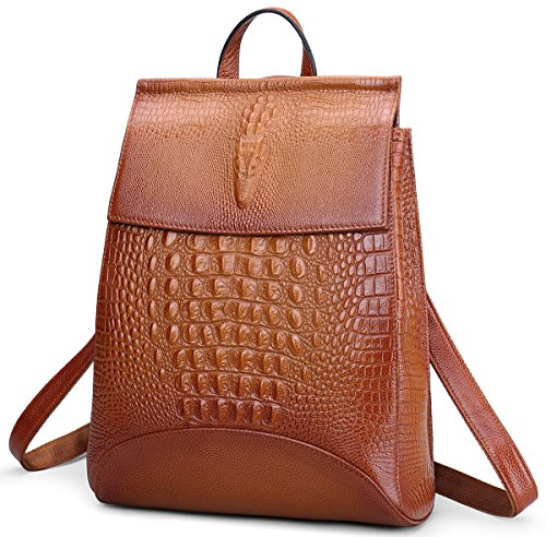 Crocodile Leather Goods - Coolcy New Fashion Casual Women Genuine Leather Backpack Shoulder Bag (Sorrel)