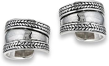 Stacked Band Effect Bali Style Braid 925 Sterling Silver Weave Ear Cuff Earrings