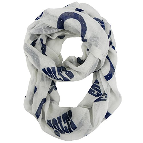 NFL Indianapolis Colts Sheer Infinity Scarf, One Size, White