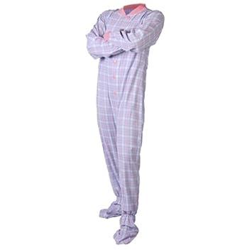 Pijama de franela rosada y azul para pies con abertura trasera para el asiento mujeres (