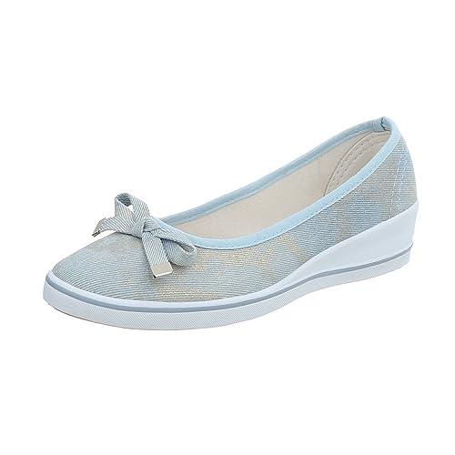 Zapatos para Mujer Mocasines Plataforma Bailarinas clásicas Azul Tamaño 36