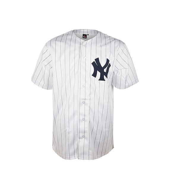 Majestic Camisa Manga Corta MLB New York Yankees Jerseey Blanco Azul Talla   S ( 888eb46eb54