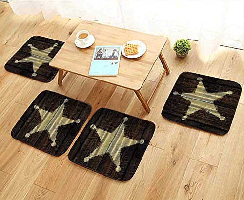 Comfortable Chair Cushions mitive Rustic Wooden Le Star Sheriffs Badge Five Point Antiqued Look Army Military Armed Reuse can be Cleaned W17.5 x L17.5/4PCS Set