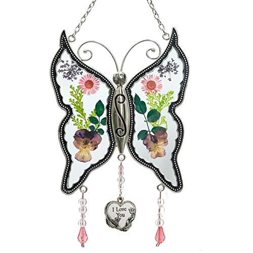 - New Butterfly Suncatchers Glass I love you Wind Chime with Pressed Flower Wings Embedded in Glass with Metal Trim I Love You Heart Charm - Gifts for Mom -Mom for Birthdays Christmas