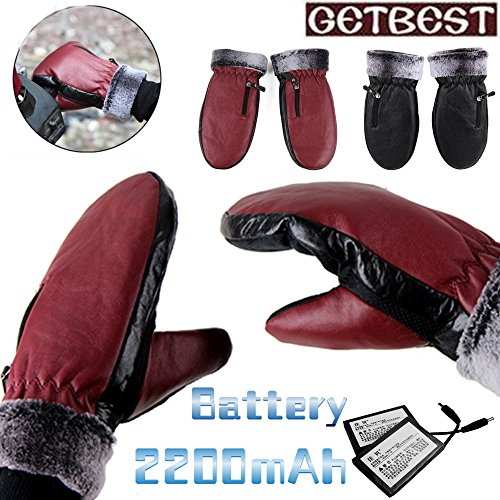 GOODKSSOP 1 Pair Winter Ski Outdoor Work Warmer Gloves Cycling Motorcycle Bicycle Electric Heated Hands Glove with 2200mAh Rechargeable Battery (Black(Fit for Men))