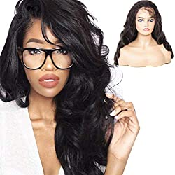 Klaiyi Hair Wig Brazilian Body Wave Remy Hair Long Wigs Lace Front Human Hair Wigs Free Part (16 inch)