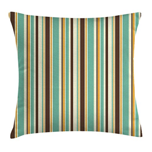 CHA-LRS.BB Striped Decor Throw Pillow Cushion Cover, Funk Art Nostalgic Lash Strokes with Earthen Tones Blow Fashion Graphic, Decorative Square Accent Pillow Case, 18 X 18 Inches, Brown Teal