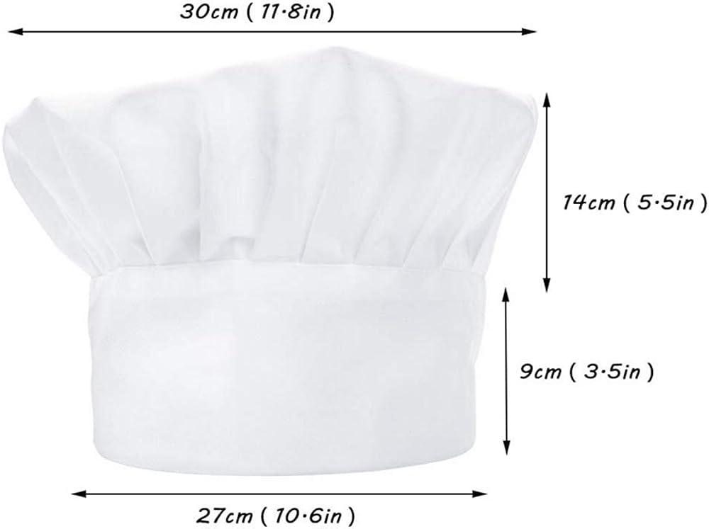 Nuluxi Unisex Ajustable Pasteleria Gorro de Chef No Impreso Ajustable Gorro de Chef Adulto Blanco El/ástico Chef Sombrero Accesorios de Cocina Apto para Hosteleria Pub Cocina y Restaurante 2 Piezas
