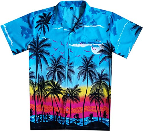 Hawaiian Shirts for Men Button Down Vacation Casual Couple Dress Turquoise L -