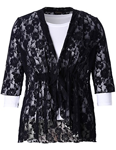 (Chicwe Women's Plus Size Stretch Floral Lace Bohemian Cover up 3X Black)