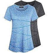 iClosam Camiseta para Mujer Yoga Deportiva Colores Lisos Fitness Transpirable Sueltos Gimnasio Ro...