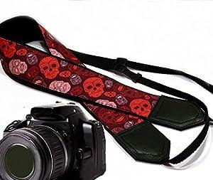 Halloween sugar skull camera strap. Modern DSLR / SLR Camera Strap. Ruddy skulls camera strap. Durable, light weight and well padded camera strap. code 00052