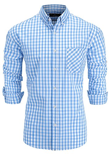 Long Plaid Dress Shirt Sleeve (Emiqude Men's 100% Cotton Slim Fit Long Sleeve Button Down Plaid Dress Shirt XL Light Blue)
