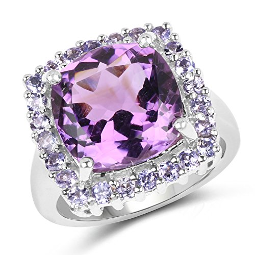 Johareez 6.50 Carat Genuine Amethyst & Tanzanite .925 Sterling Silver Ring
