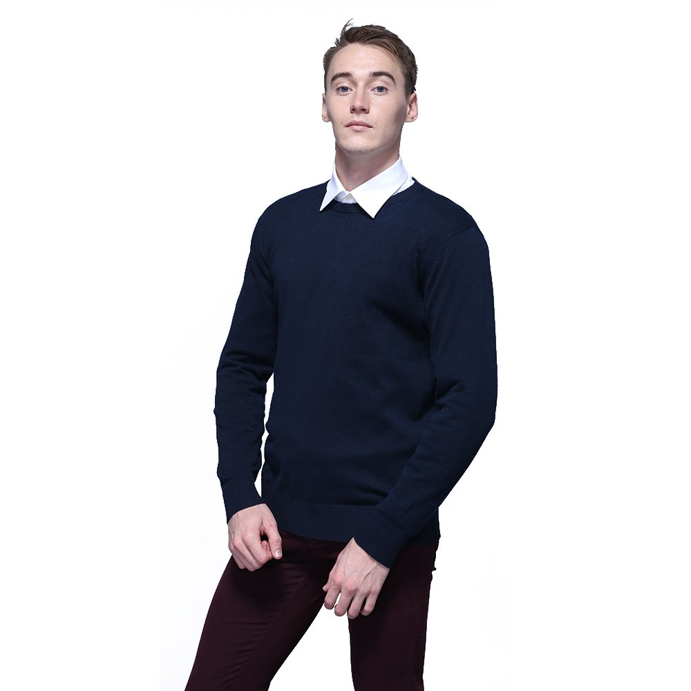 FASHIONMIA Mens Casual Solid Slim Fit Sweater Pullover Dark Blue L by FASHIONMIA (Image #3)