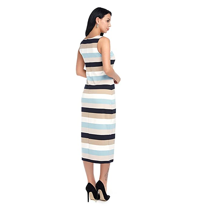 FLORHO Womens Slim Fit Sleeveless Crewneck Stripe Pencil Bodycon Long Dresses at Amazon Womens Clothing store: