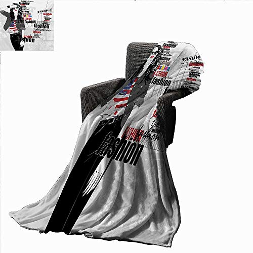 Anyangeight Girls Digital Printing Blanket Modern Teen Girl with USA Flag T-Shirt Fashion Obsession Beauty in The Street,Super Soft and Comfortable,Suitable for Sofas,Chairs,beds ()