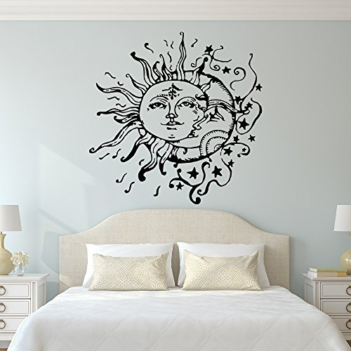 Sun And Moon Wall Decal  Sun Moon And Stars Wall Decals Ethnic Decor   Bedroom Dorm Wall Decal Sticker Bohemian Boho Wall Art Home Decor C108