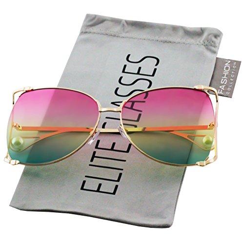 Oversized Designer Sunglasses Fashion Women Pearl Retro Oceanic Clear Lens Oval Lip Sun Glasses 2018 (Pink Pearl Shades)