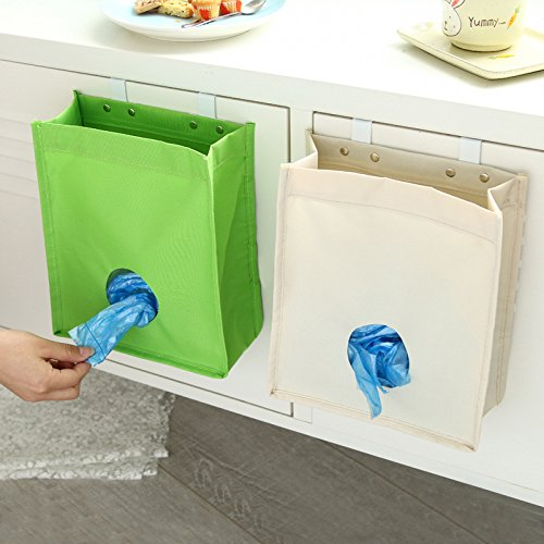 EQLEF® Canvas Grocery Bag Holder & Dispenser Garbage Bag Organizer Trash Bags Recycling Containers for Kitchen - Apricot
