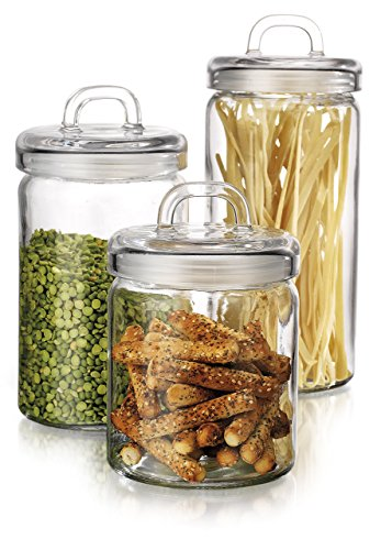 Elegant Home Loop Canister Set of Set of 3 Clear Glass Round with Air Tight Lids for Bathroom or Kitchen - Food Storage Containers