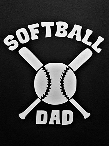 (Softball Dad Vinyl Decal Sticker|WHITE|Cars Trucks Vans SUV Laptops Wall Art|5.5