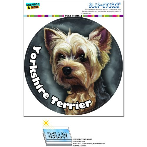 Yorkshire Terrier - Yorkie Dog Pet Circle SLAP-STICKZ(TM) Automotive Car Window Locker Bumper Sticker ()