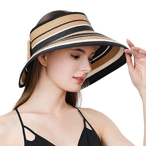 - Jeff & Aimy Large Wide Brim Straw Visor Sun Hat for Women UPF 50 Crushable Summer Beach Travel Safari Sunhat Khaki
