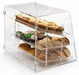Pastry Display Case with 3 Removable Trays, Rear