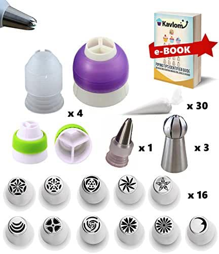 RUSSIAN PIPING TIPS: for Flowers, Piping Tips and 4 Couplers, ALL-IN-ONE 50 PC Icing Decorating Tips Set  16 Russian Flower Piping Tips, 3 Ball: Russian Nozzles, 1 Leaf Tip   30 Bags w/ Guide (Kavlom)