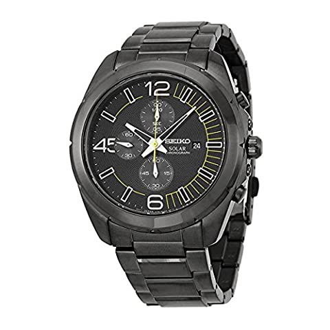 Seiko Solar Chronograph Black Dial Stainless Steel Mens Watch Watch SSC217 by Seiko Watches (Digital Watch Men Seiko)