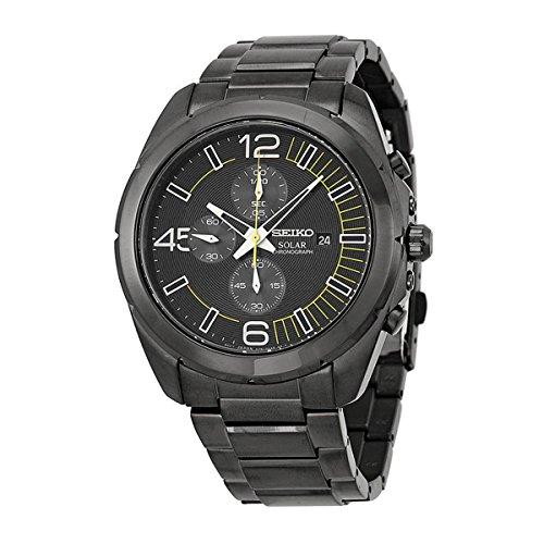 Seiko Solar Chronograph Black Dial Stainless Steel Mens Watch Watch SSC217 by (Seiko Analog Digital)